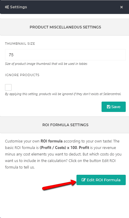 How do I configure my Return on Investment (ROI) formula